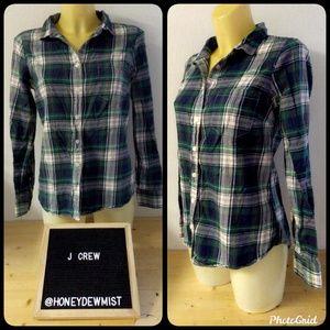 J CREW The Perfect Shirt Plaid Button Down Top